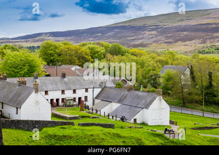 Stack Square worker's cottages preserved at Blaenavon Ironworks, now a museum and UNESCO World Heritage Site in Blaenavon, Gwent, Wales, UK - Stock Photo