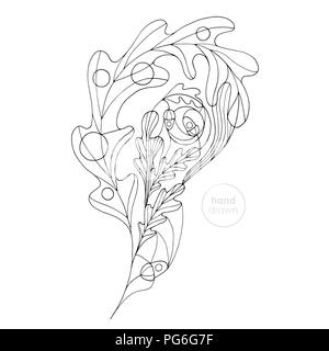 Hand drawn oak leaf vector coloring book. Abstract autumn paisley illustration. Leaves design element in modern style. - Stock Photo