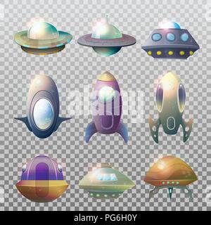 Set of isolated alien spaceships and rocket. Flying ufo technology for traveling trough universe, cartoon flight unidentified disk or aircraft, astronaut vessel. Cosmos and astronomy, galaxy theme - Stock Photo