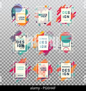 Isolated template of blank or empty, clear business cards or frame for photography with modern design. Brochure or paper flyer, poster for art, ornamental geometric design for scrapbook - Stock Photo