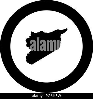 Map of Syria icon black color in round circle vector I - Stock Photo