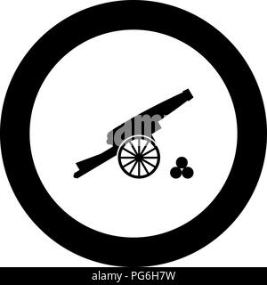 Medieval cannon firing cores icon black color in round circle vector I - Stock Photo