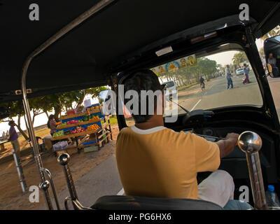 Horizontal streetview from inside a tuk-tuk in Sri Lanka. - Stock Photo