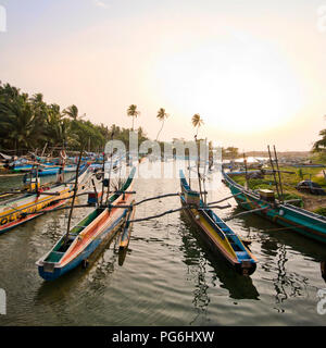Square view of fishing boats moored in Dodanduwa, Sri Lanka. - Stock Photo