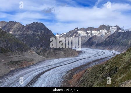 Aletsch glacier in Switzerland - Stock Photo