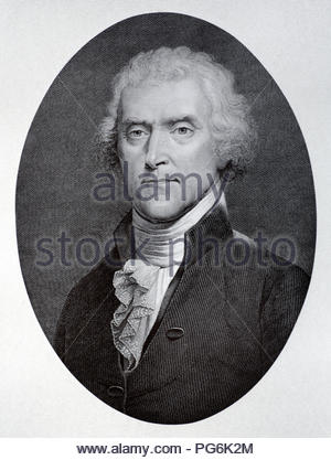 Thomas Jefferson portrait, 1743 – 1826 was an American Founding Father who was the principal author of the Declaration of Independence and later served as the third president of the United States from 1801 to 1809, antique illustration from 1880 - Stock Photo
