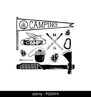 Vintage hand drawn camping adventure shapes. Hiking symbols - pennant, knife, matches, axe and others. Retro monochrome design. Can be used for t shirts, prints. Stock vector isolated on white - Stock Photo