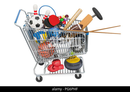 Sports game equipment in shopping cart. 3D rendering - Stock Photo