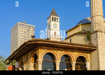 Albania, Tirana, TID Tower, Clock Tower, Et'hem Bey Mosque - Stock Photo