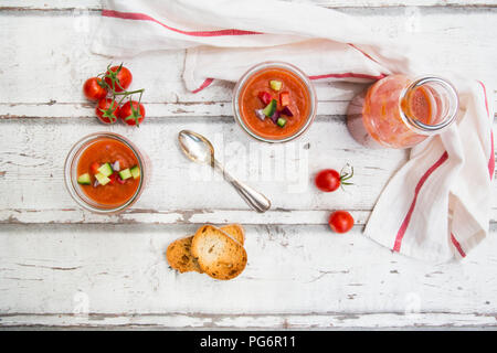 Homemade Gazpacho in glasses - Stock Photo
