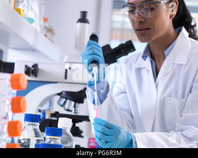 Genetic research, female scientist pipetting DNA or chemical sample into a eppendorf vial, analysis in the laboratory - Stock Photo