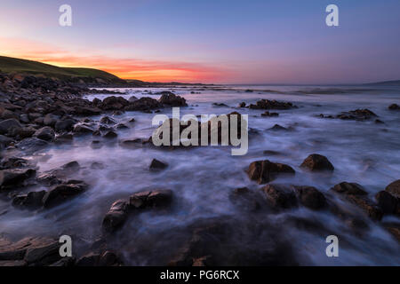 New Zealand, South Island, Southern Scenic Route, Catlins, sunset at Kaka Point - Stock Photo