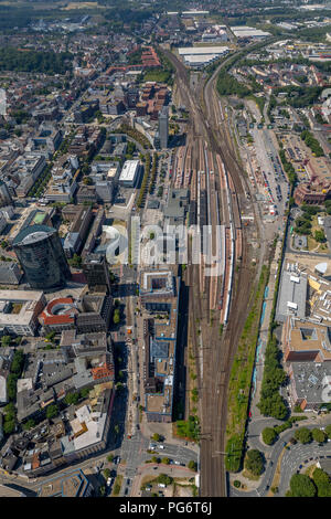 Dortmund Central Station, Dortmund Central Station, Gleise, Burgwall, Königswall, B54 Federal Highway, RWE Tower Building, Football Museum, Platforms, - Stock Photo