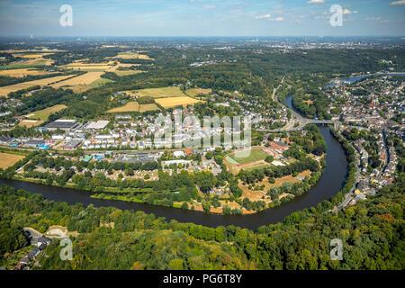 Overview Ruhr Valley near Essen-Werden, Ruhr Valley Road, Ruhr,, Essen, Ruhr Area, North Rhine-Westphalia, Germany, DEU, Europe, aerial view, birds-ey - Stock Photo