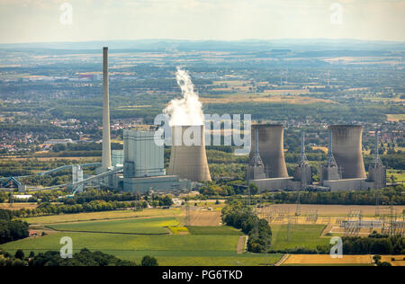 Gersteinwerk, combined steam power plant hard coal and natural gas, RWE AG in the Werner district Stockum, cooling towers, water vapor, emission, chim - Stock Photo