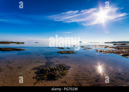 UK, Scotland, East Lothian, North Berwick, view from the beach towards the Bass Rock - Stock Photo