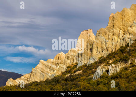 New Zealand, South Island, Omarama, Clay Cliff - Stock Photo