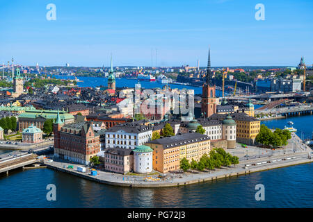 Aerial view of Riddarholmen and Gamla Stan (Old Town) from the Tower of Stockholm City Hall (Stadshuset), Kungsholmen, Stockholm, Sweden - Stock Photo