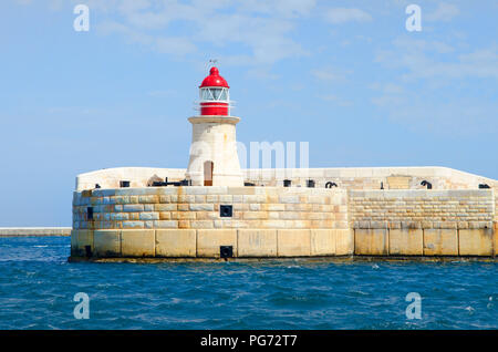 Malta  Valletta Harbour lighthouses City Malta Seascape - Stock Photo