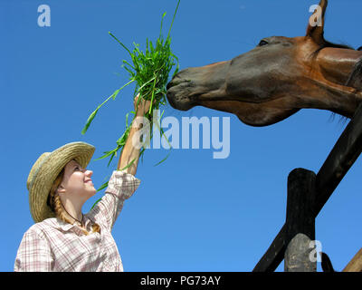 young cowgirl feeding horse in the farm, on blue sky background, low angle view - Stock Photo