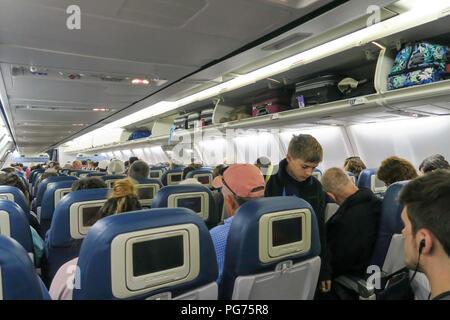 Passenger Cabin on a Delta Airline Flight, USA - Stock Photo