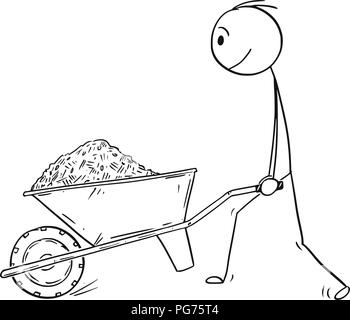 Cartoon of Man Pushing Wheelbarrow With Soil, Mud, Sand or Mulch. - Stock Photo