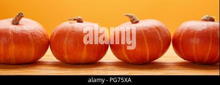 horizontal view of ripe fresh pumpkins on wooden surface on orange - Stock Photo