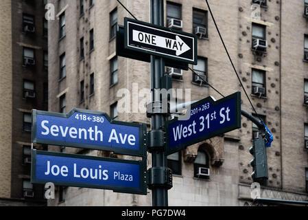 Joe Louis Plaza road sign in Midtown of New York City - Stock Photo