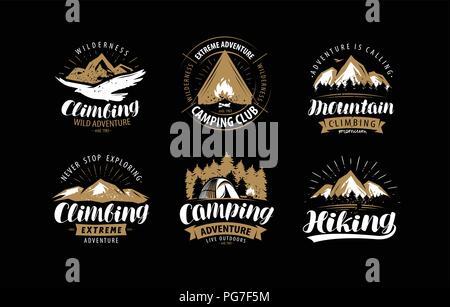 Climbing, camping logo or emblem. Hiking label set. Vintage vector - Stock Photo