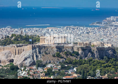 Panoramic aerial view of Acropolis of the city of Athens  in Greece, view from Lycabettus hill - Stock Photo