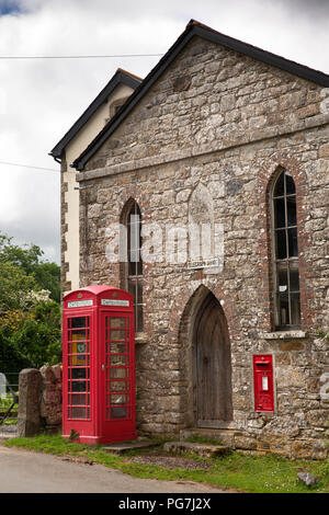UK, England, Devon, Dartmoor, Belstone village Old Telegraph Office in 1841 Zion Chapel with K6 phone box defibrillator - Stock Photo