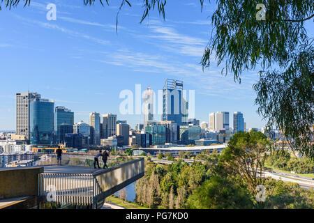 View of the Perth city CBD from Kings Park, Western Australia, Australia - Stock Photo