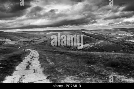 Looking down from the summit of MamTor along the Great Ridge in the Peak District of England - Stock Photo