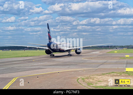 Moscow, Russia - May 30, 2018: Airplane of Aeroflot airline on runway ready for start, Sheremetyevo international airport. - Stock Photo