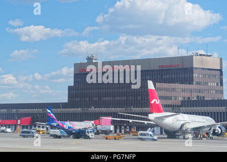 Moscow, Russia - May 30, 2018: Sheremetyevo International Airport, View on the terminal F building from runway - Stock Photo