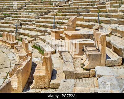 Marble thrones of the Theatre of Dionysus Eleuthereus. Acropolis of Athens. Attica region, Greece. - Stock Photo