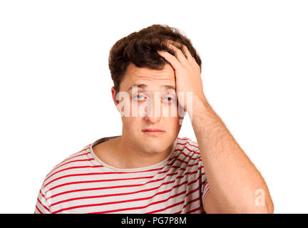 portrait of a crying man holding his head in despair. emotional man isolated on white background. - Stock Photo