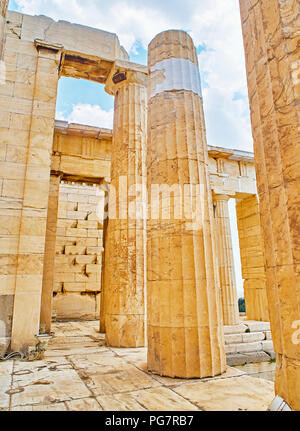 Doric columns of the western facade of Propylaea, the ancient gateway to the Athenian Acropolis. Athens. Attica, Greece. - Stock Photo