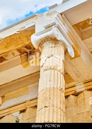 Doric column and entabulature detail of eastern facade of Propylaea, the ancient gateway to the Athenian Acropolis. Athens. Attica, Greece. - Stock Photo