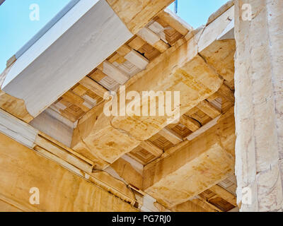 Restored architrave detail of eastern facade of Propylaea, the ancient gateway to the Athenian Acropolis. Athens. Attica, Greece. - Stock Photo