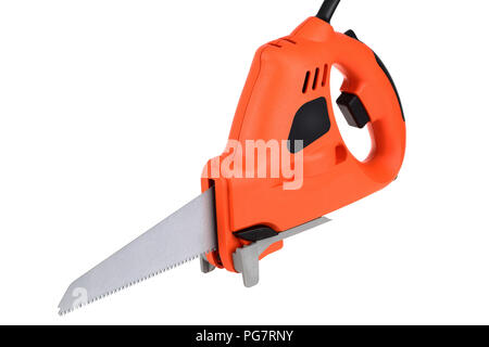Electric power saw isolated on a white background - Stock Photo