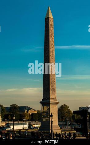 Place de la Concorde Egyptian Obelisk Paris France - Stock Photo