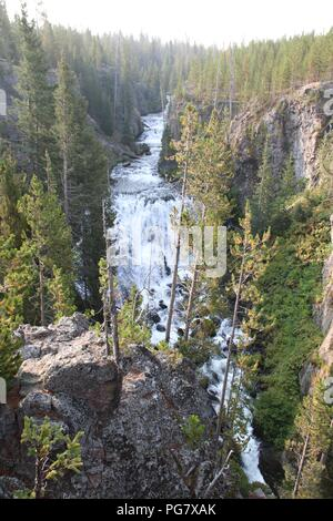Kepler Cascades on the Firehole River in Yellowstone National Park, Wyoming. - Stock Photo