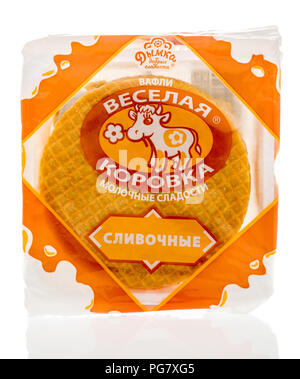 Winneconne, WI - 20 August 2018: A package of happy cow creamy waffle from Russia on an isolated background - Stock Photo