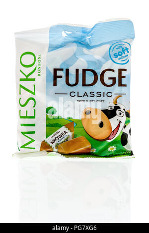 Winneconne, WI - 20 August 2018: A package of Miesko bonbons fudge classic from Poland on an isolated background - Stock Photo