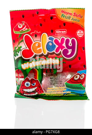 Winneconne, WI - 20 August 2018: A package of Elvan Jelaxy watermelon candy from Turkey on an isolated background - Stock Photo