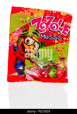 Winneconne, WI - 20 August 2018: A package of Zozole Musss candy from Poland on an isolated background - Stock Photo