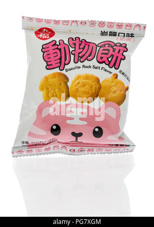 Winneconne, WI - 20 August 2018: A package of Cho Fu chips from Tawain on an isolated background - Stock Photo