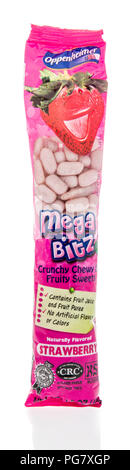 Winneconne, WI - 20 August 2018: A package of Oppenheimer Mega Bitz candy on an isolated background - Stock Photo