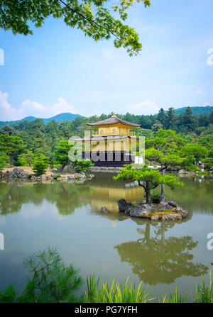 Kinkaku-ji (also known as Kinkakuji or Rokuon-ji), the Temple of the Golden Pavilion, is famous Zen Buddhist temple located in Kyoto, Japan. - Stock Photo